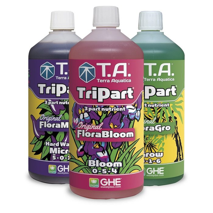 GHE TriPart Set hard water 1L, 5L, 10 L (Flora Series)
